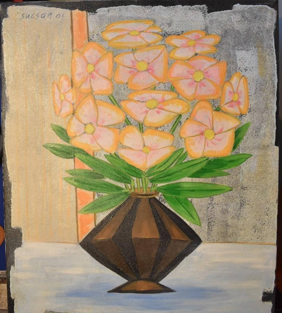 Fleurs au pot brun